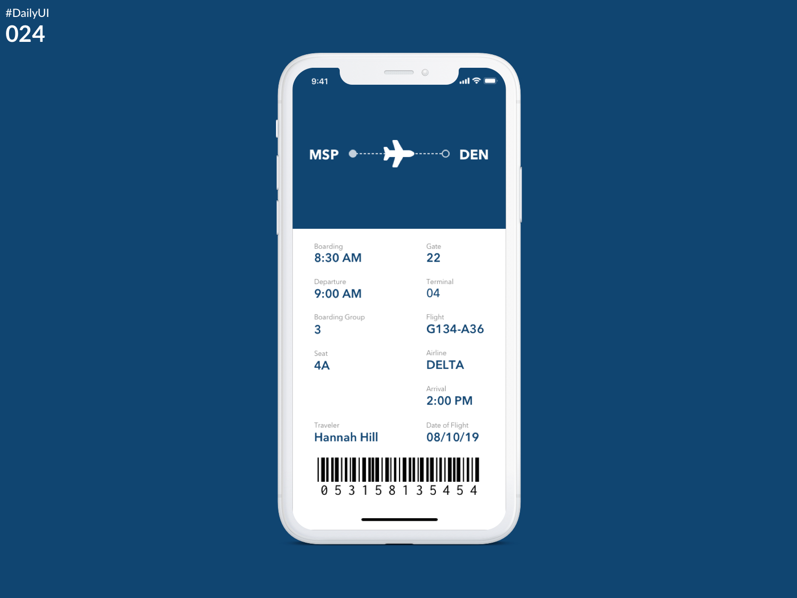 DailyUI Challenge 024 - Boarding Pass)