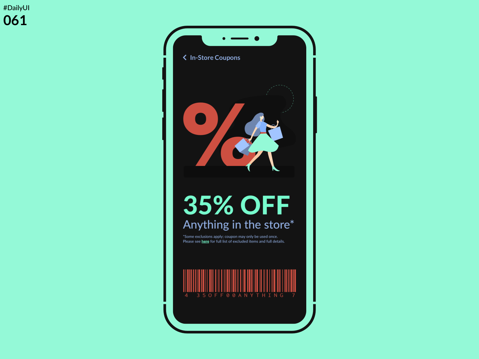 DailyUI Challenge 061 - Redeem Coupon)